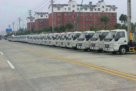 2018年第一批35台福田小卡之星车厢可卸式垃圾车发车仪式